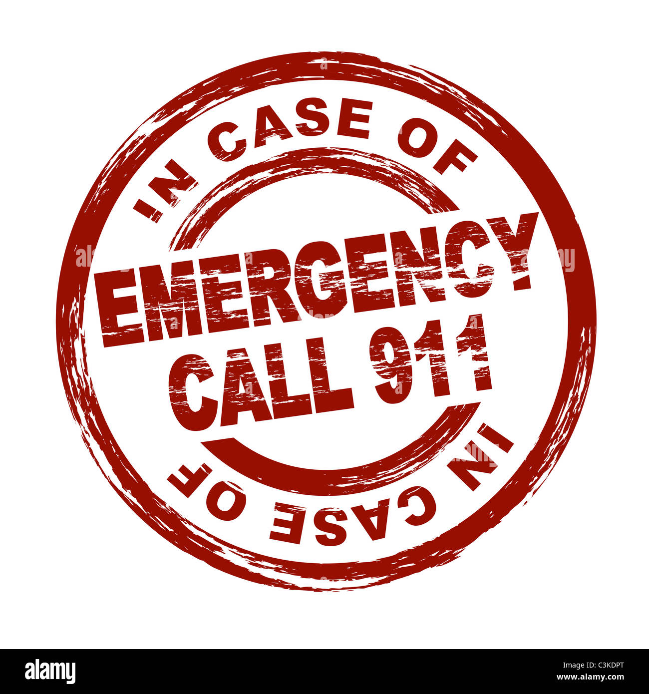 Stylized red stamp showing the term emergency call 911. All on white background. - Stock Image