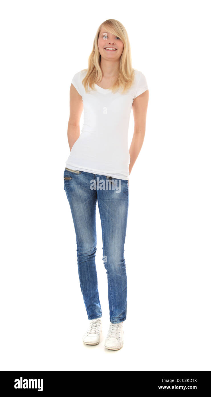 attractive young woman standing in front of plain white background