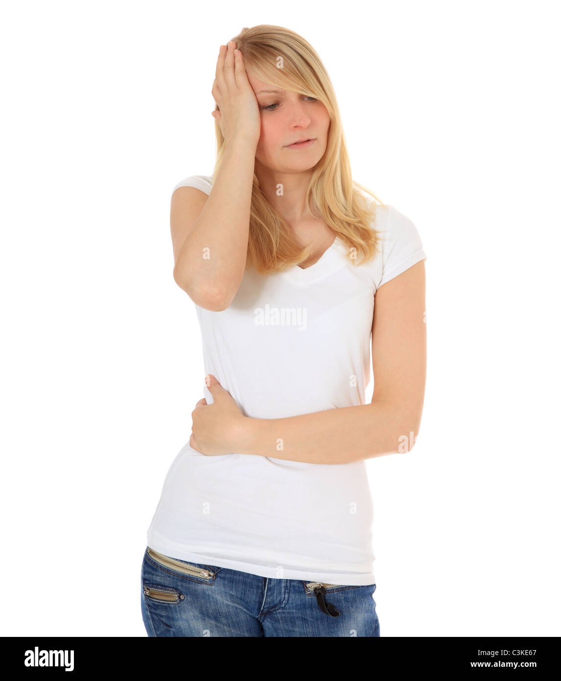 Attractive young woman feels unwell. All on white background. - Stock Image