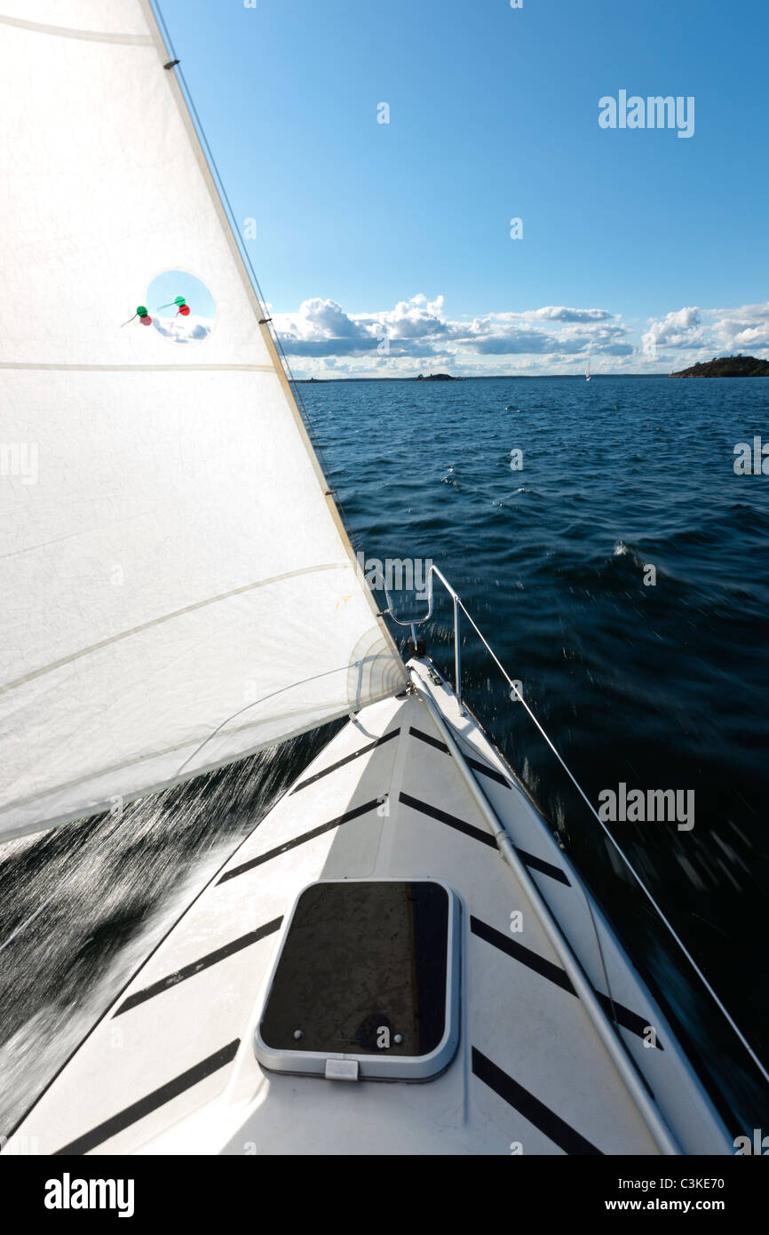 View from sailing boat - Stock Image