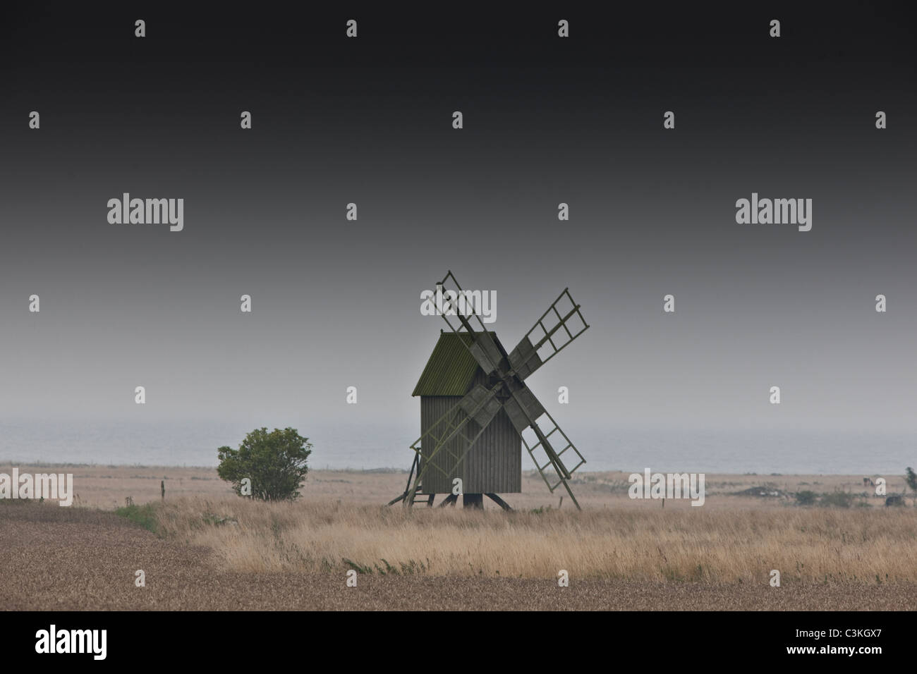 Old windmill on farm - Stock Image