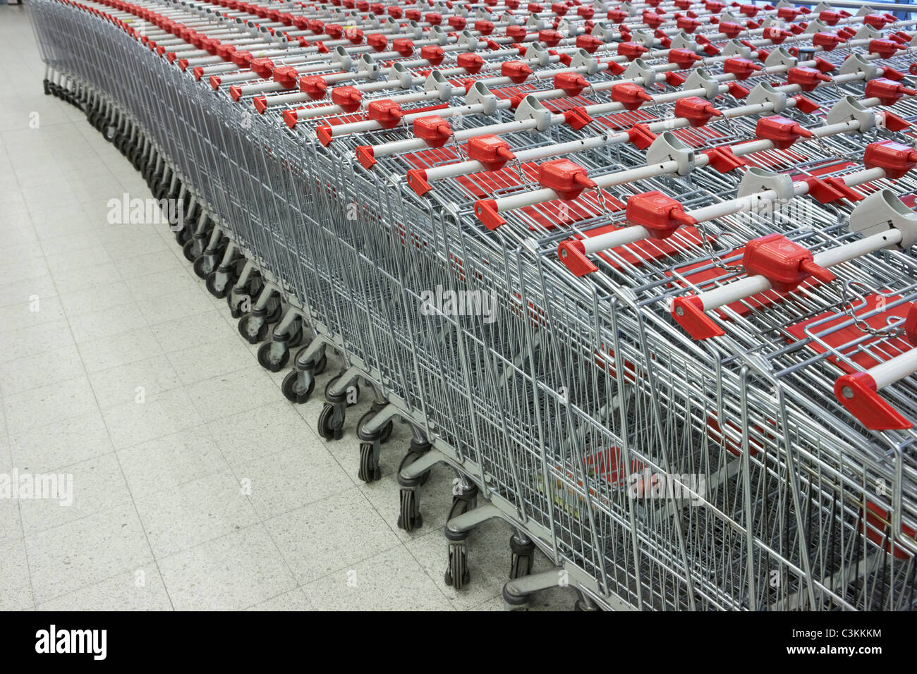 Large group of shopping trolley - Stock Image
