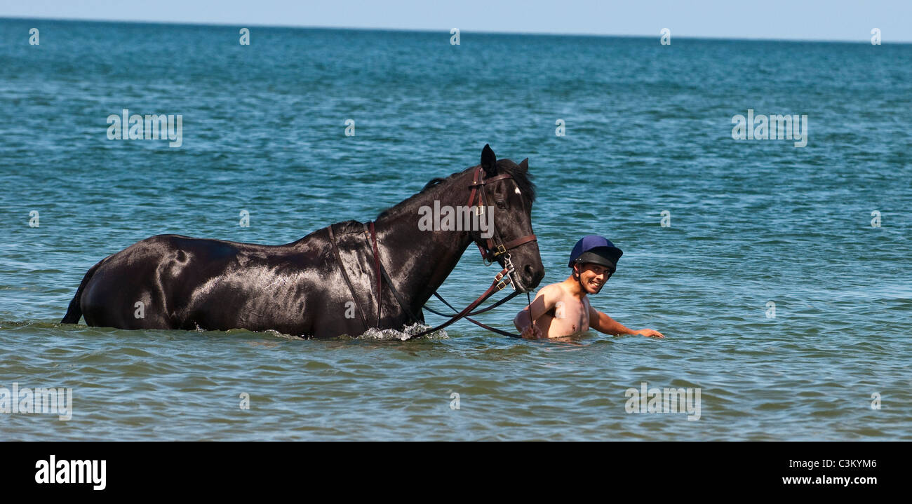 Members of the Blues and Royals of the Household Cavalry at Holkham Beach, Norfolk, UK - Stock Image