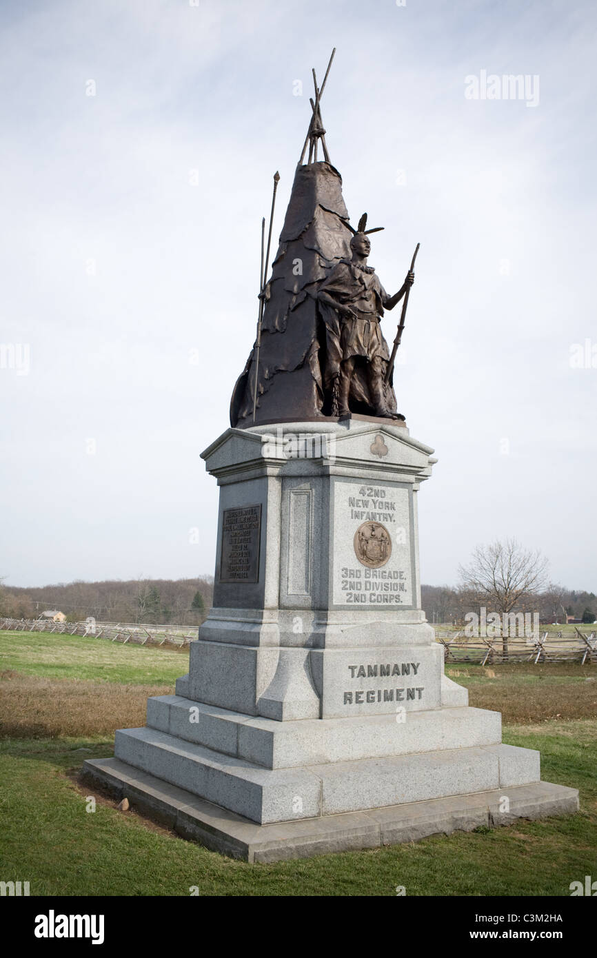 Tammany Regiment, 42nd New York Infantry, monument is one of prettiest at Gettysburg Battlefield, Pennsylvania - Stock Image