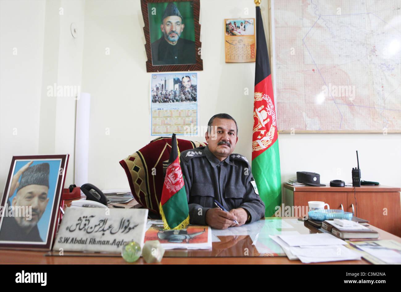 Abdul Rahman Aqtash. Head NDS and dept police chief Kunduz - Stock Image