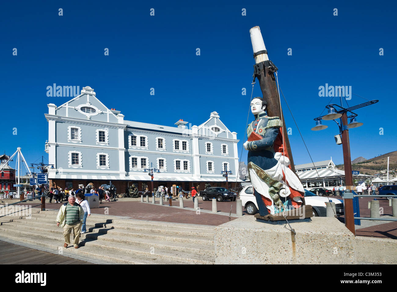 African Trading Port building and 'The Blue Peter' figurehead at V&A Waterfront Cape Town South Africa - Stock Image