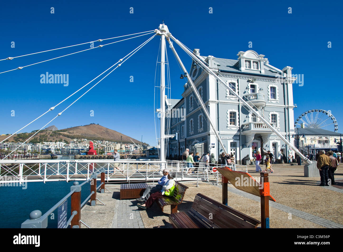Swing bridge and African Trading Port building at V&A Waterfront Cape Town South Africa - Stock Image