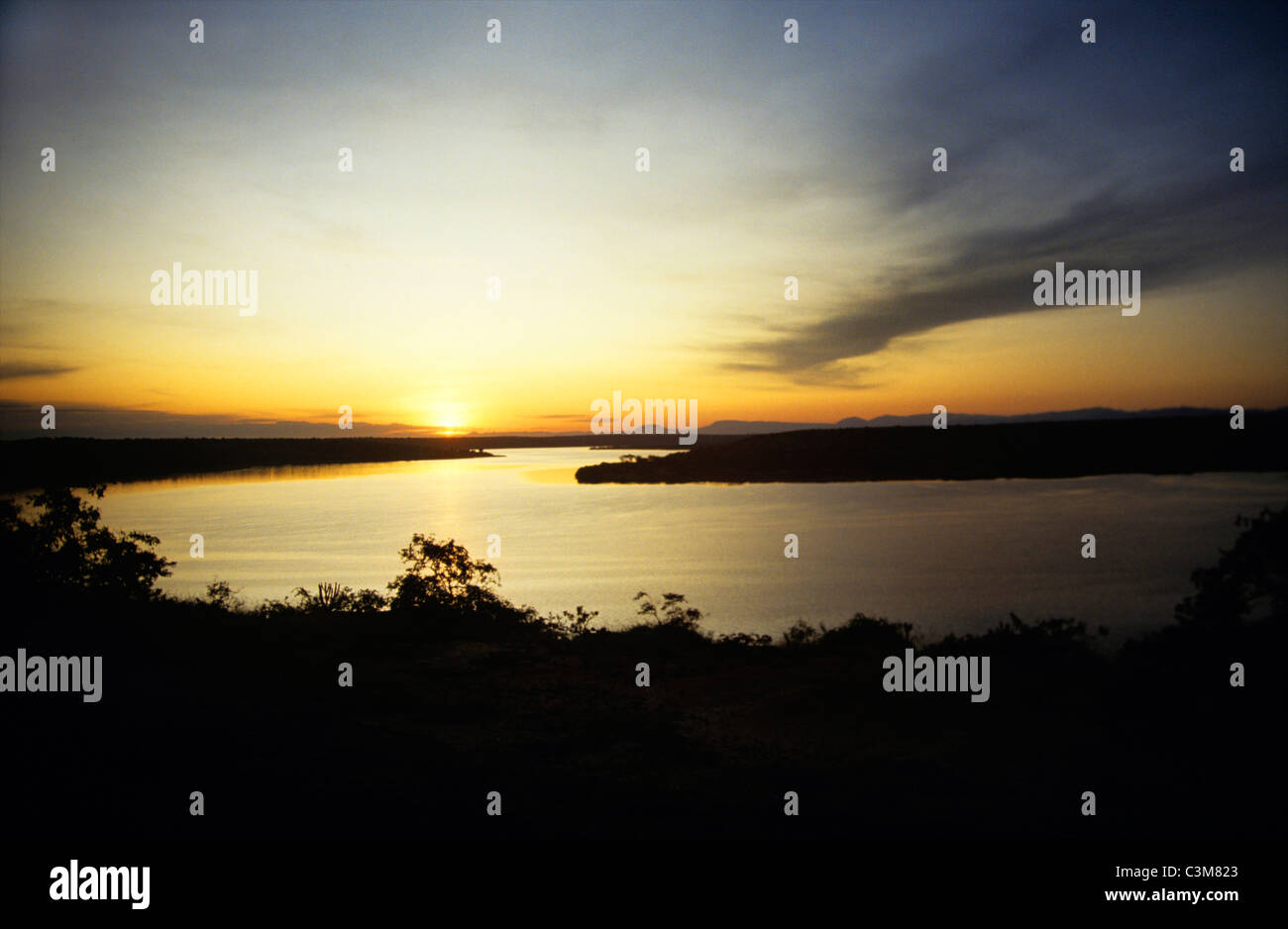 chari river between cameroon and Chad - Stock Image