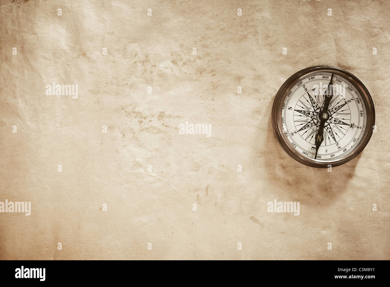 old paper texture and compass - Stock Image