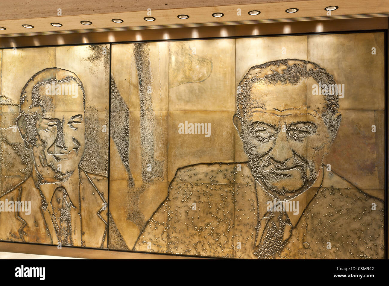 Etched Magnesium Plates,  The Great Hall, President Lyndon Baines Johnson, - Stock Image