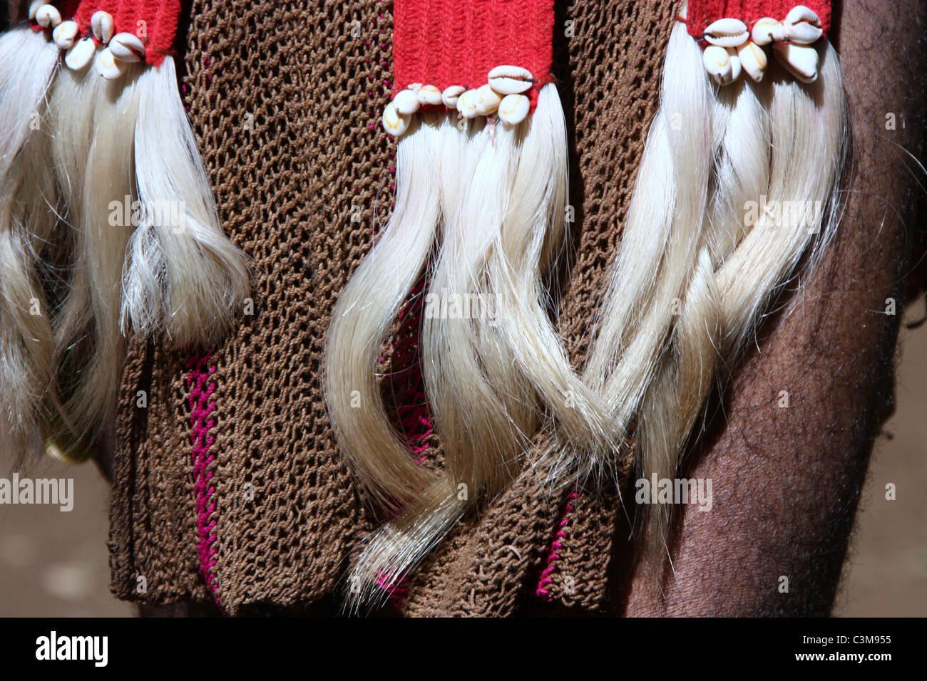 Bilum Cloth Decorated Belt or Tanket - Stock Image