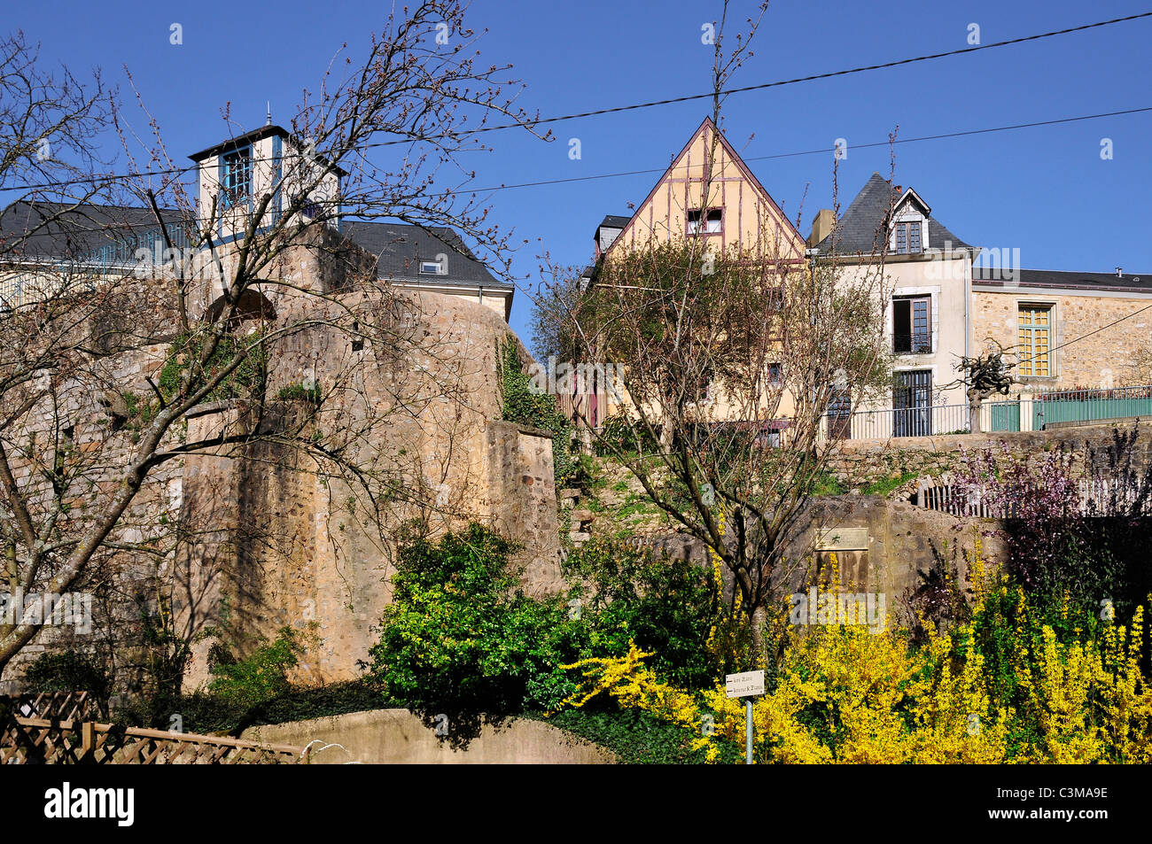 Typical Houses And The Big Old Stone Wall At Le Mans Of The Pays De La