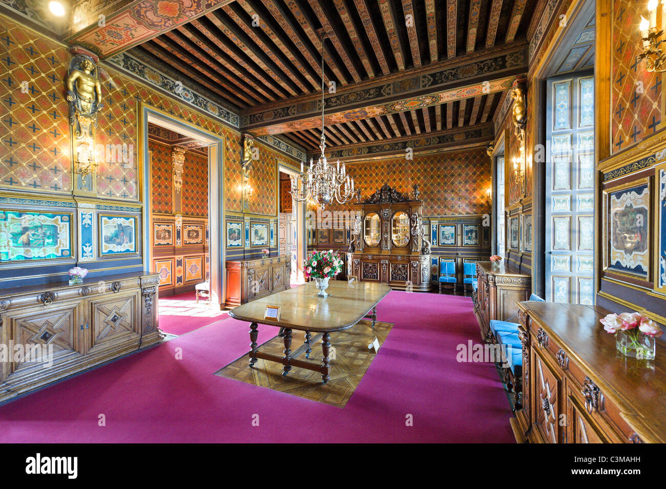 The Dining Room, Chateau de Cheverny, Loire Valley, Touraine, France - Stock Image