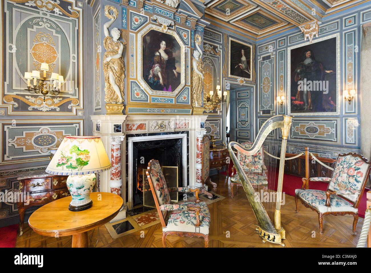 The Grand Salon, Chateau de Cheverny, Loire Valley, Touraine, France - Stock Image