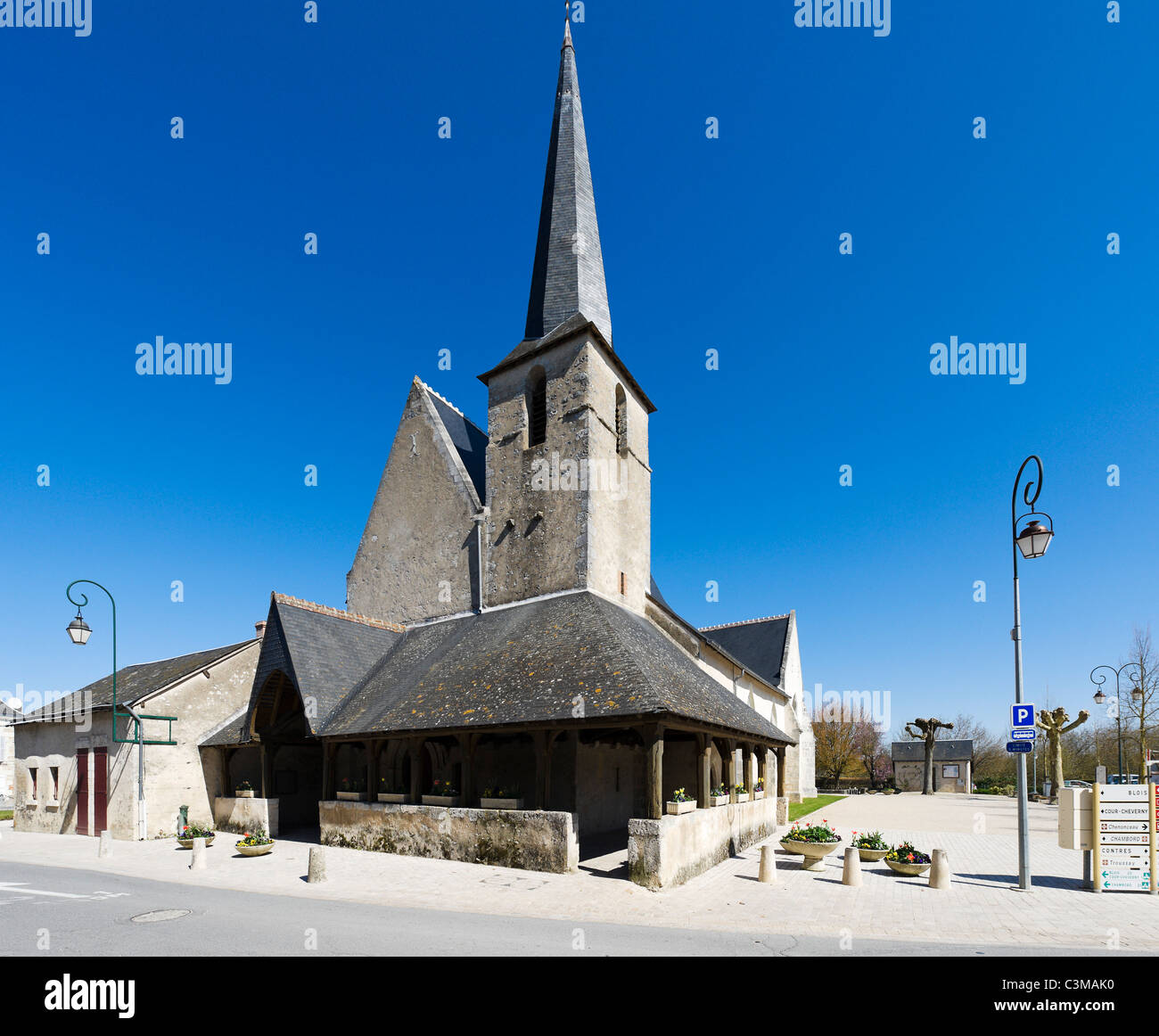 Church in the centre of the village of Cheverny, Loire Valley, Touraine, France - Stock Image