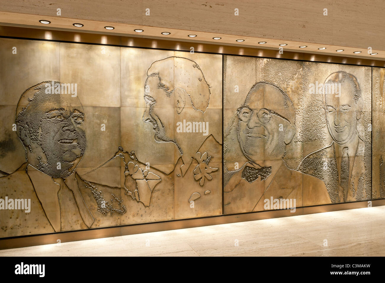 Etched Magnesium plates, The Great Hall, LBJ  Presidential Library - Stock Image