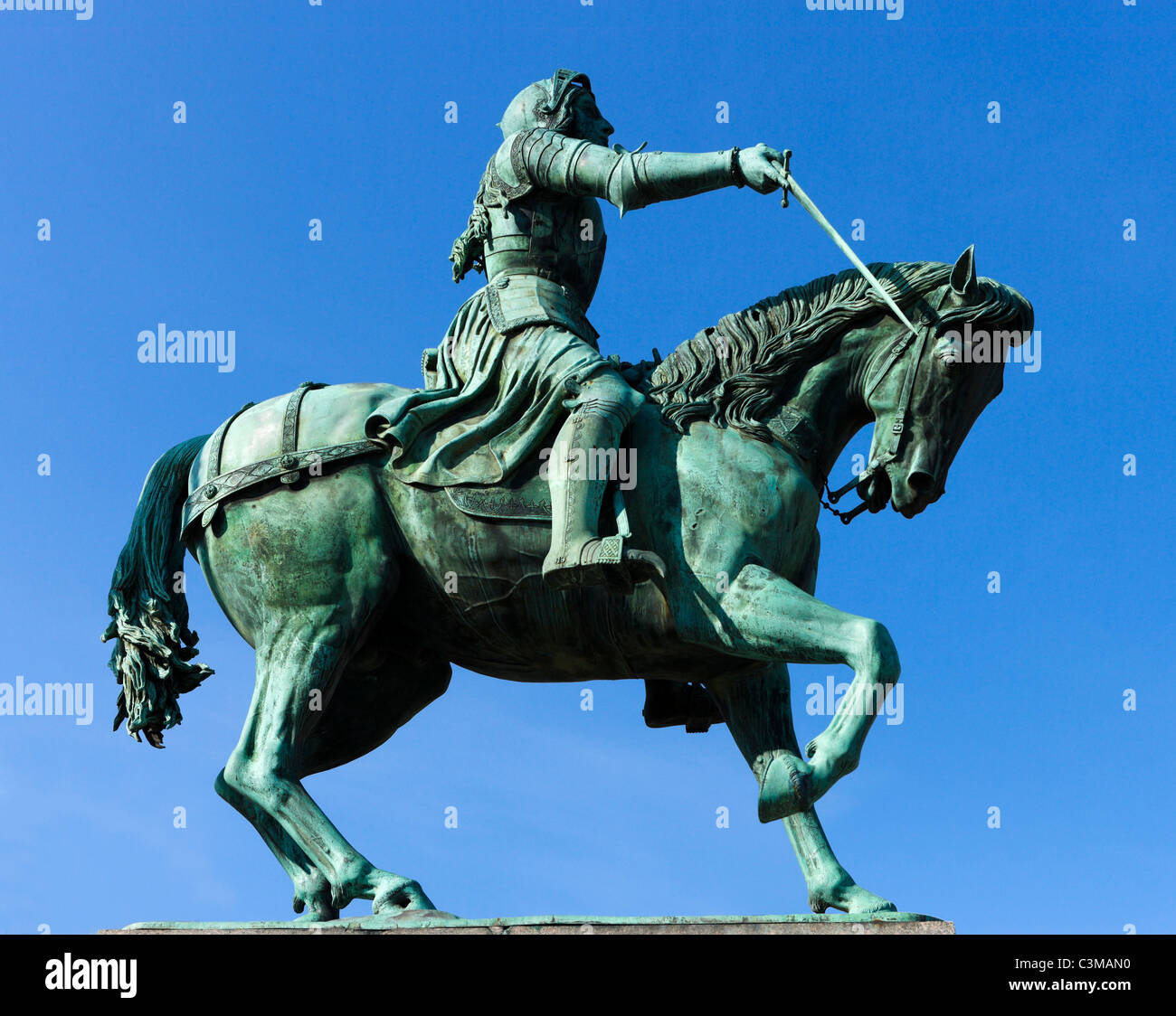 Statue of Joan of Arc in the city centre, Place du Martroi, Orleans, France - Stock Image