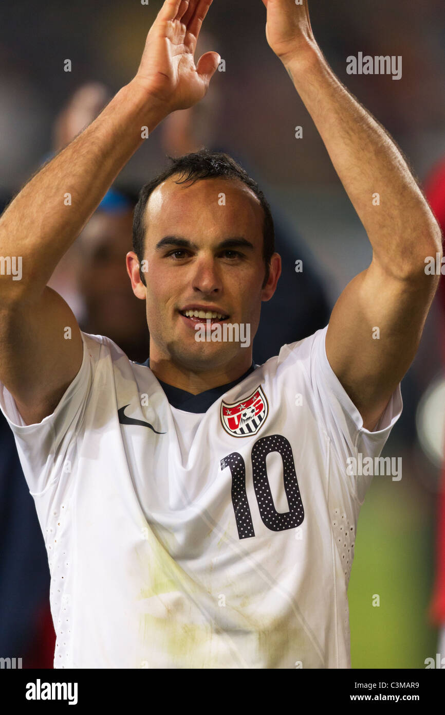 Landon Donovan of the United States acknowledges supporters after the USA defeated Algeria in a 2010 World Cup soccer - Stock Image