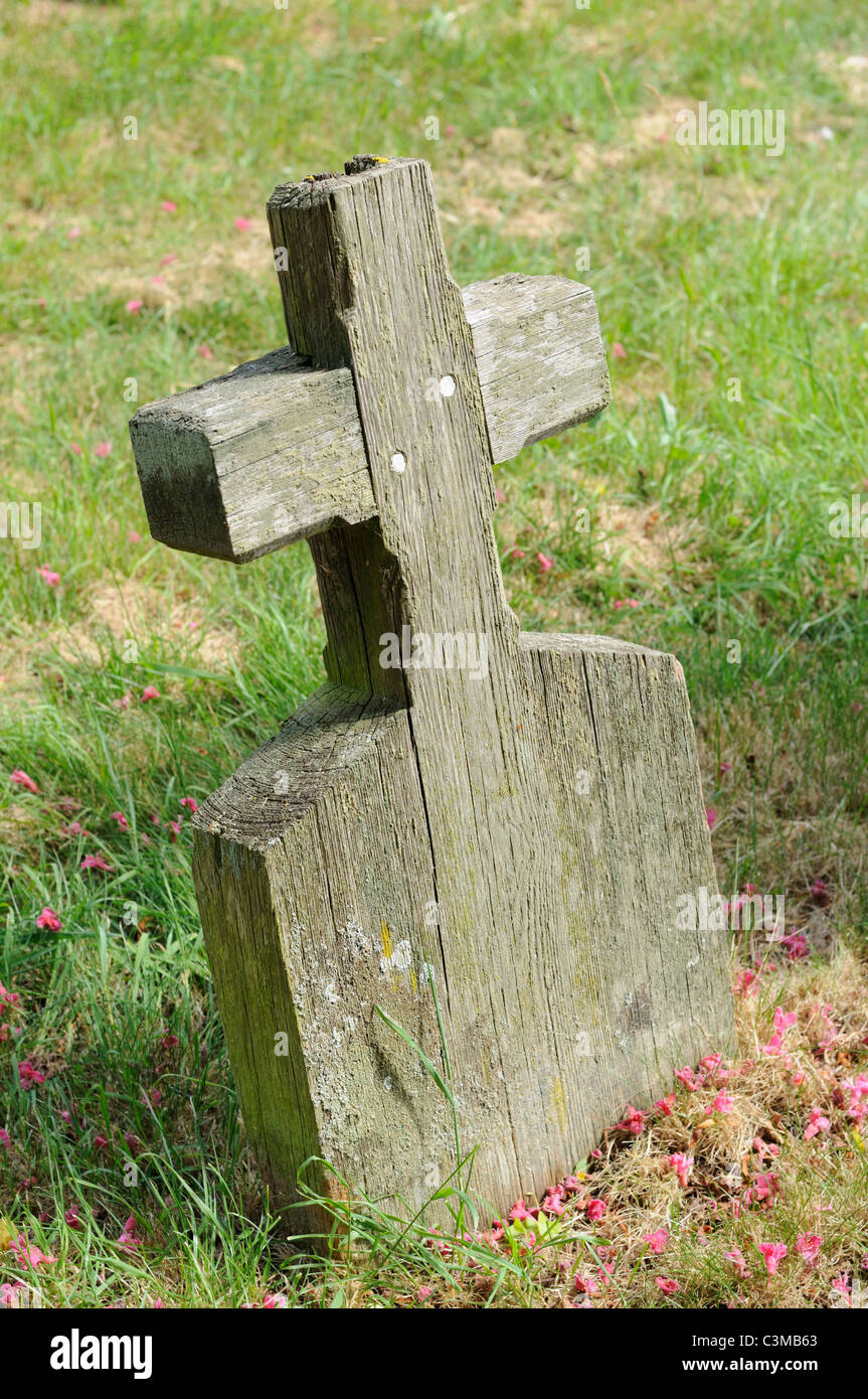 An Old Wooden Grave Marker Without Any Name Stock Photo 36712539