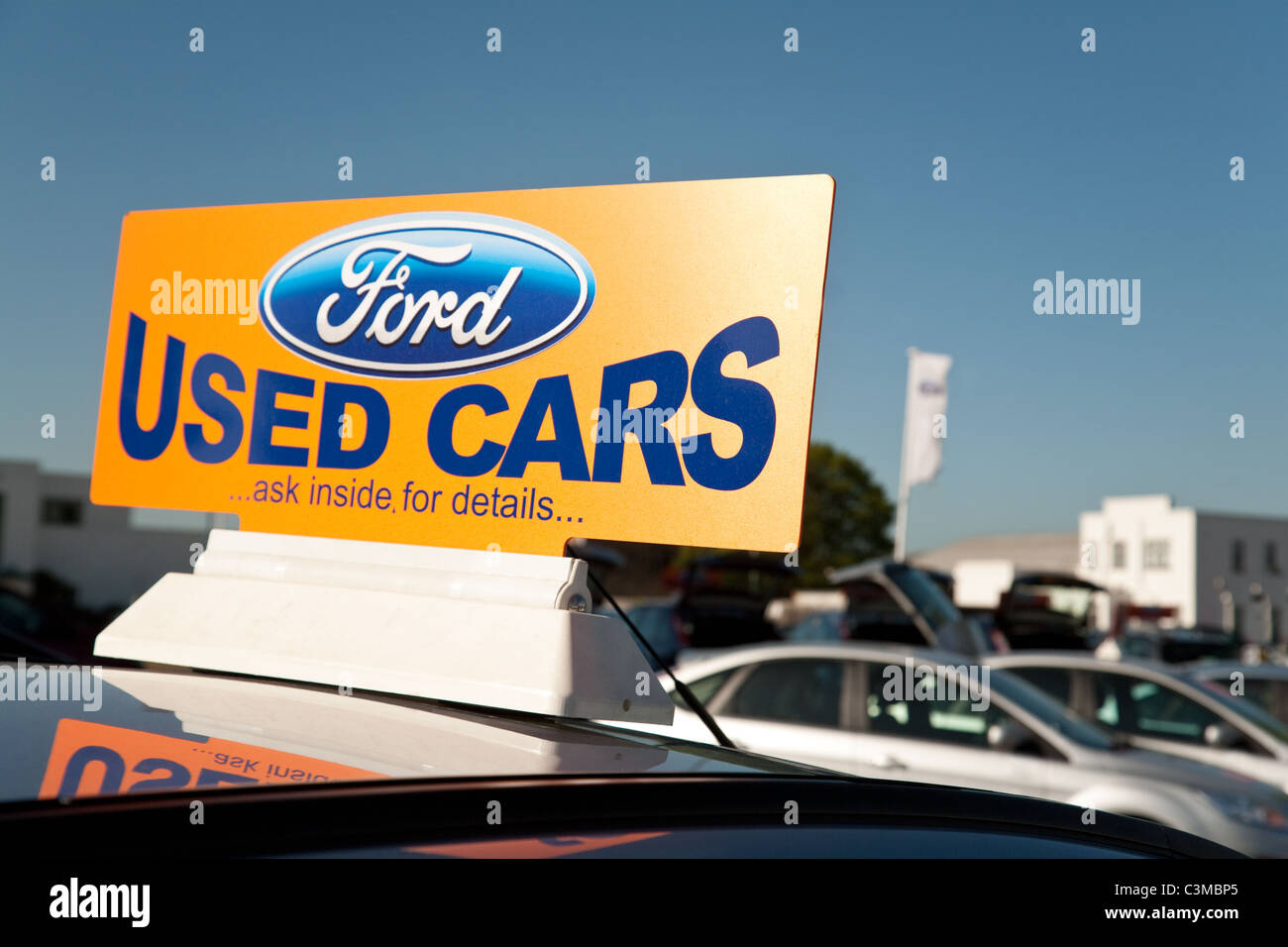 Ford Used Car Sign At A Second Hand Car Dealership Cambridge Uk