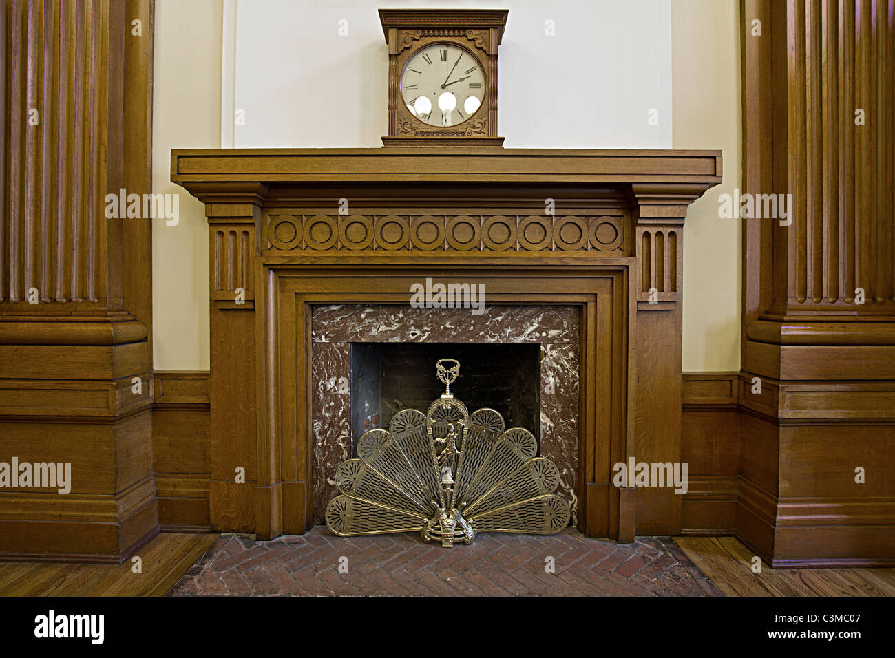 Antique Fireplace in Historic Courthouse Building Portland Oregon - Stock Image