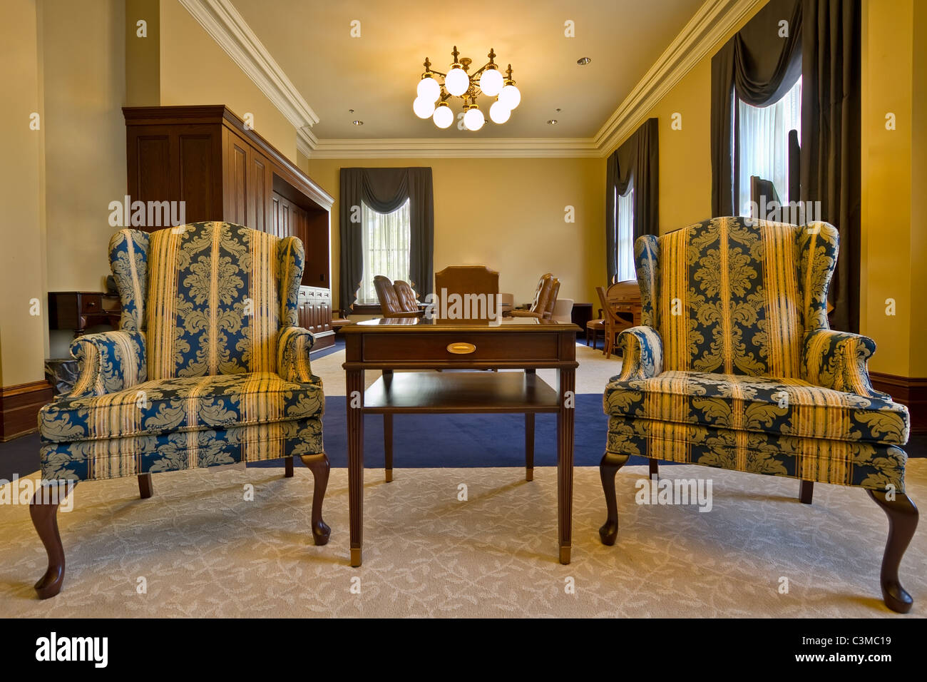 Antique Furniture in Historic Building Conference Room - Stock Image