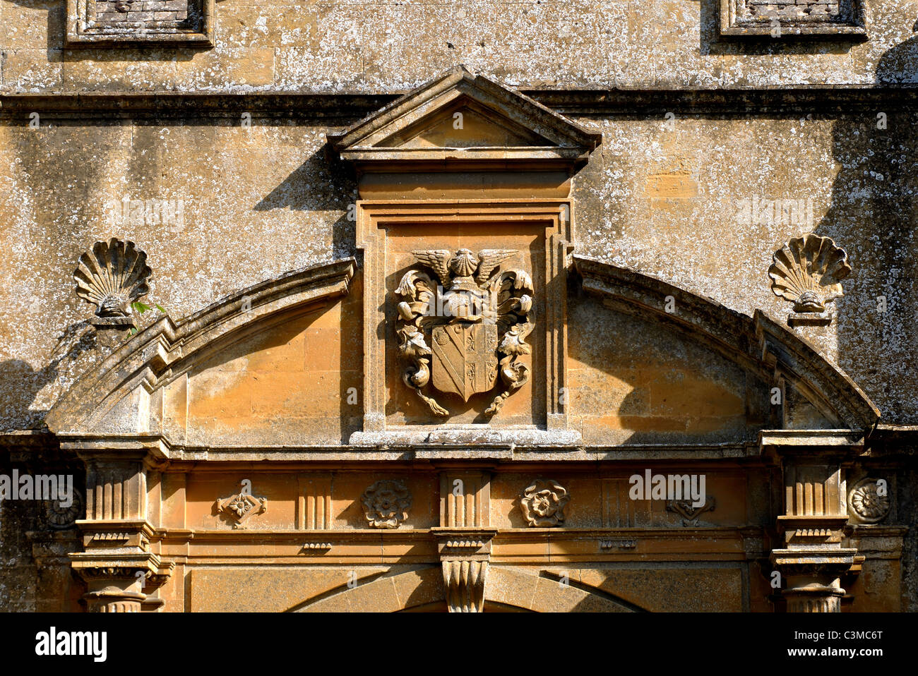 Detail of Stanway House gateway, Gloucestershire, England, UK Stock Photo