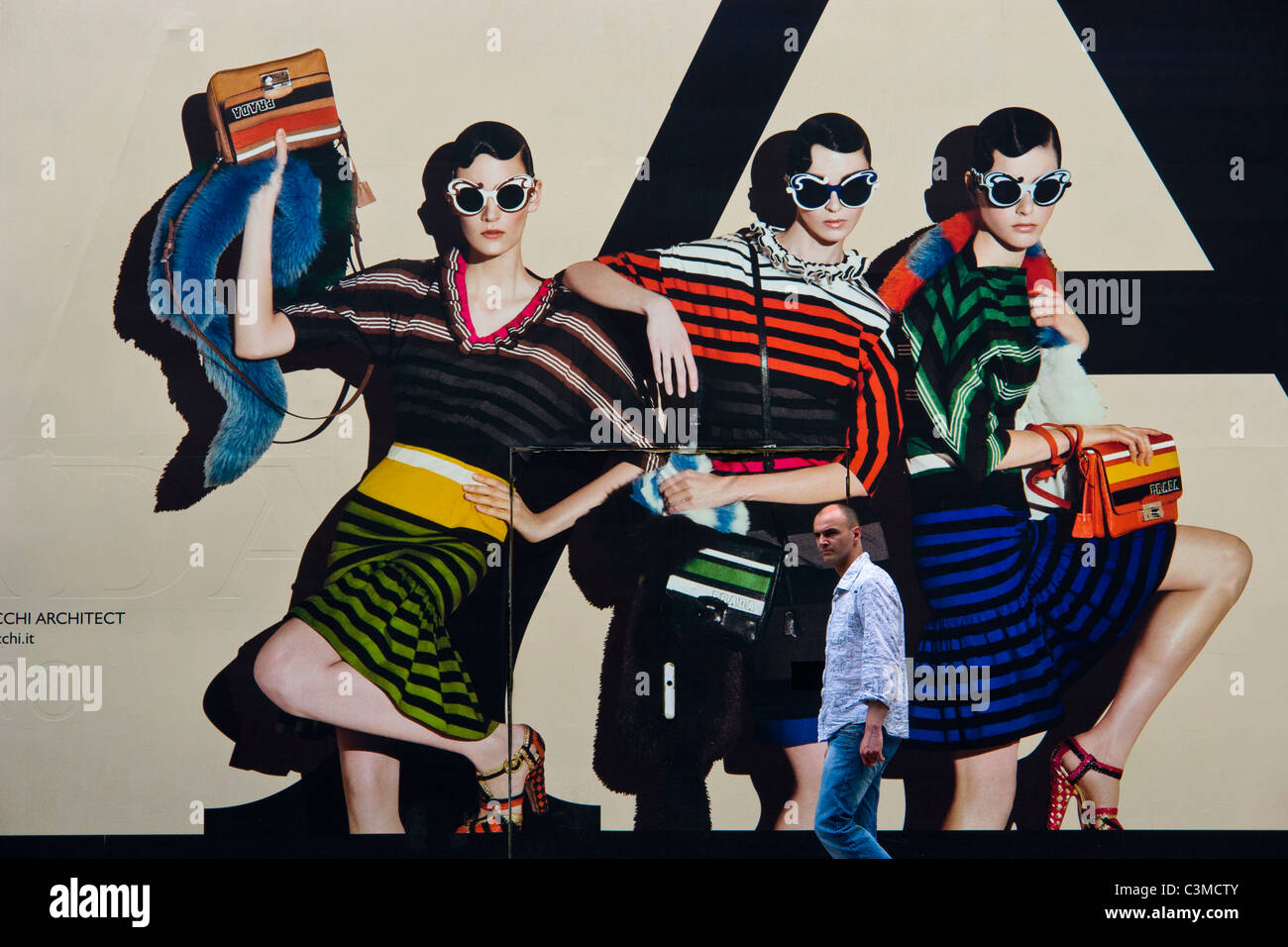 Prada advertisement outside their boutique at 6 Rue Fbg St Honoré, Paris Stock Photo