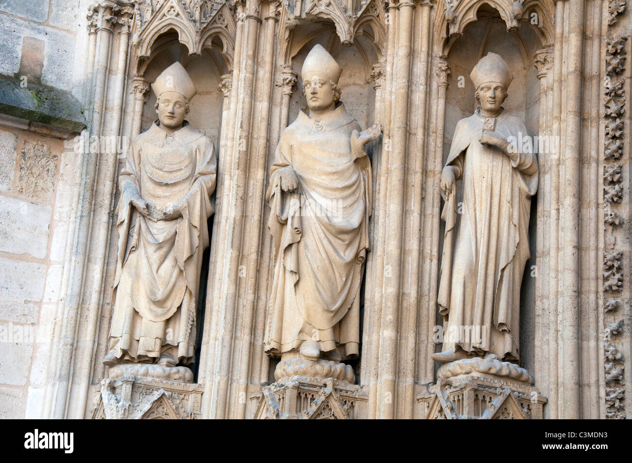 Statues on the Cathedral Saint Andre in the City of Bordeaux, France Europe EU - Stock Image