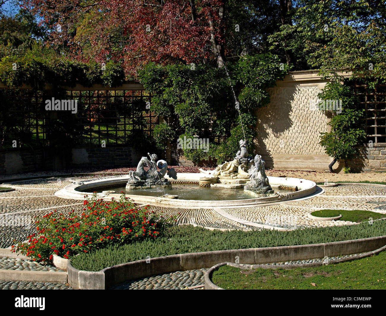 the fountain in the pebble garden at Dumbarton Oaks, Washington, DC - October 2008 - Stock Image