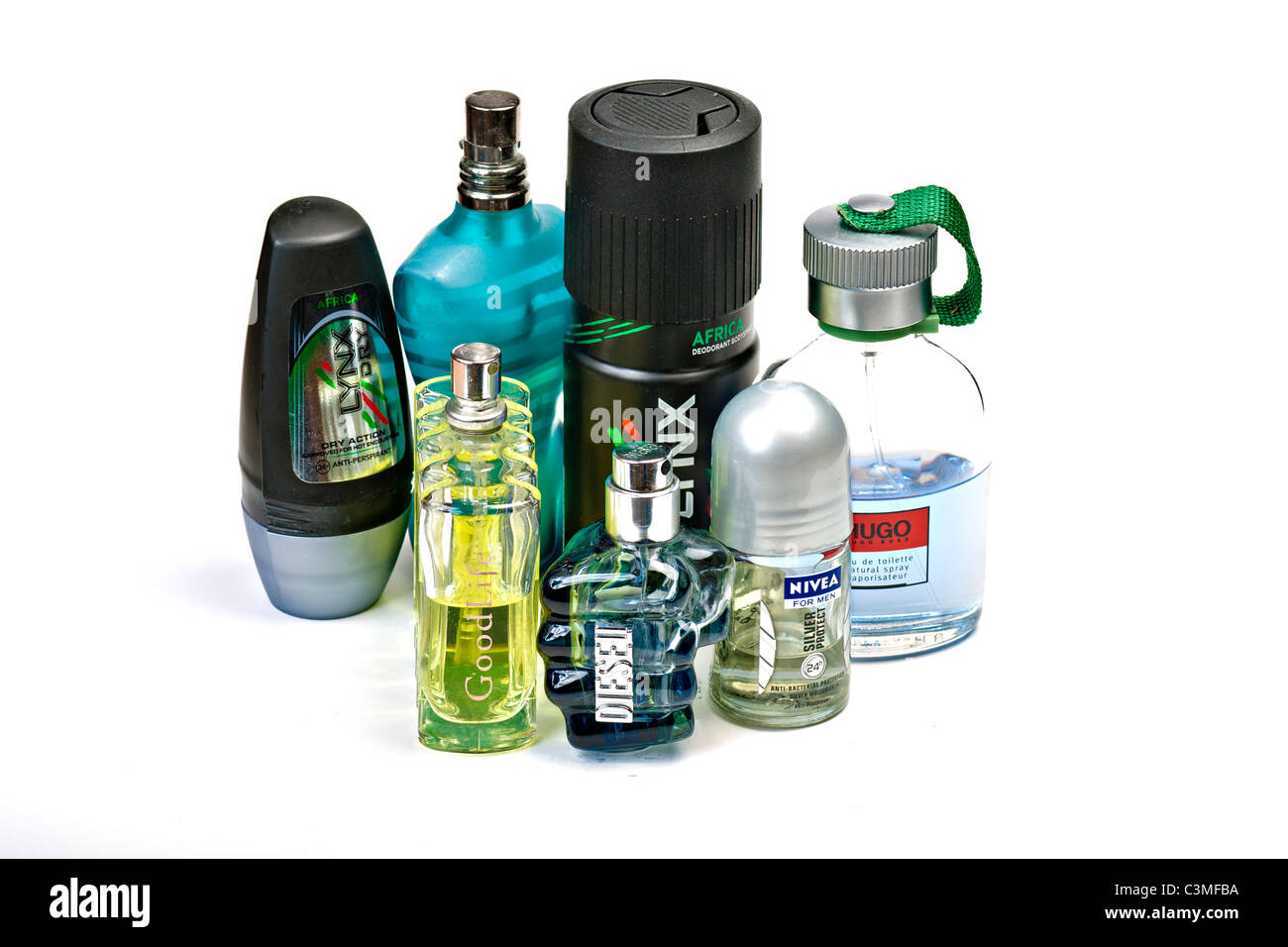Mens toiletries on white - Stock Image
