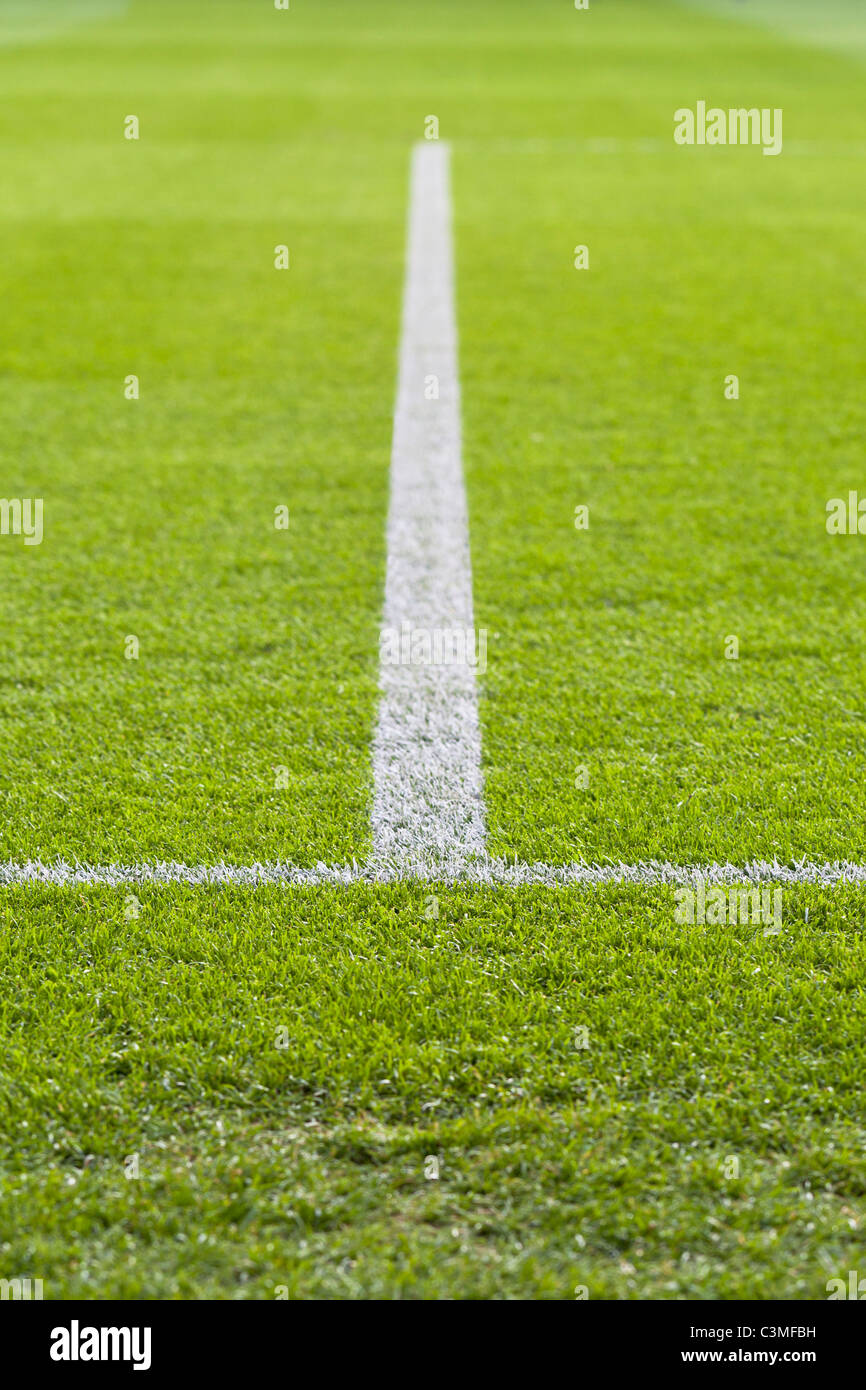 Football pitch with a painted line - Stock Image