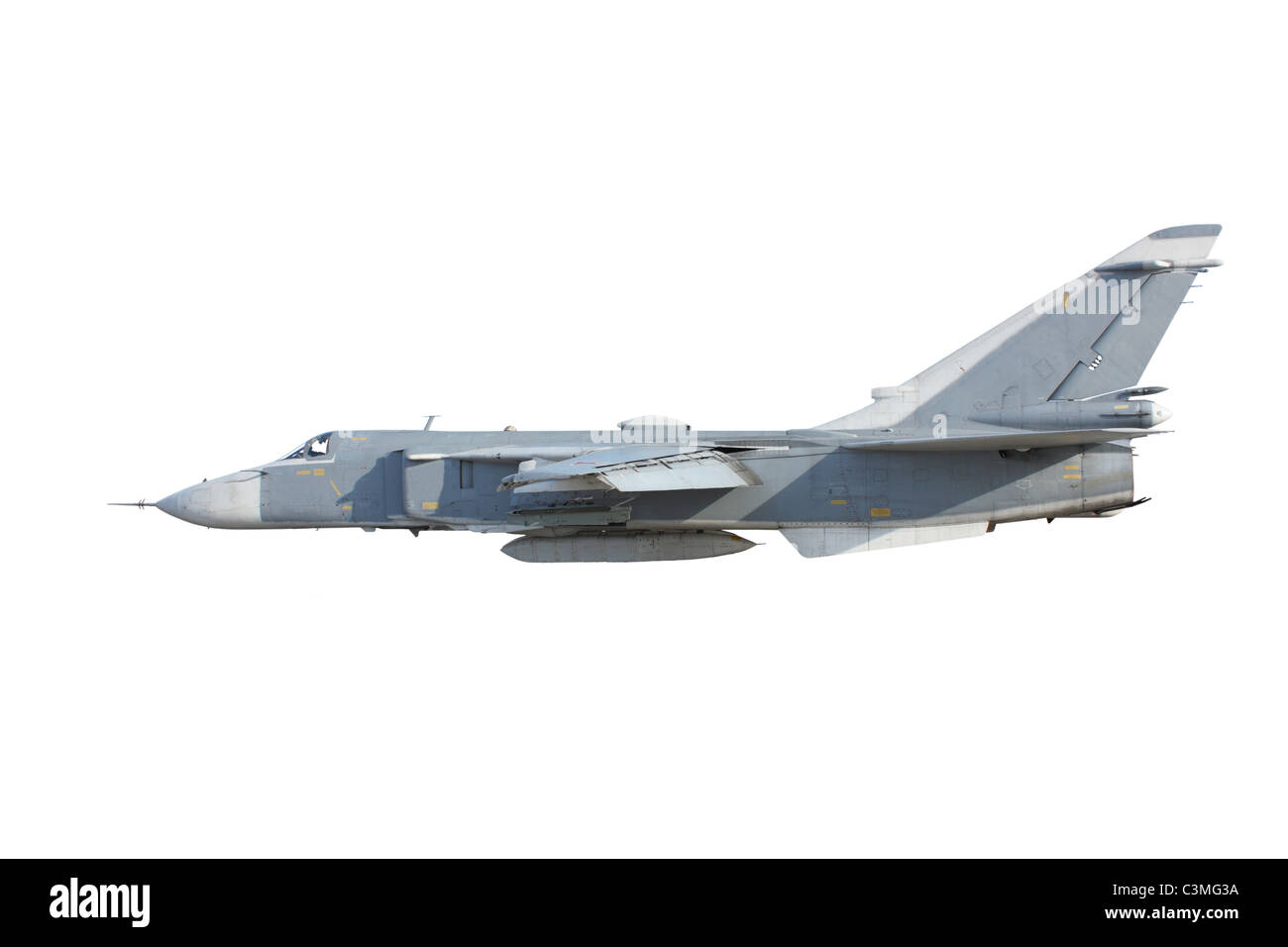 Military jet bomber Su-24 Fencer on take off and landing - Stock Image