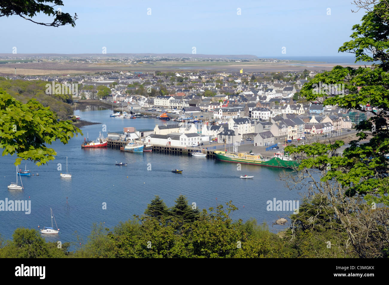 The town and harbour at Stornoway on the Isle of Lewis - Stock Image