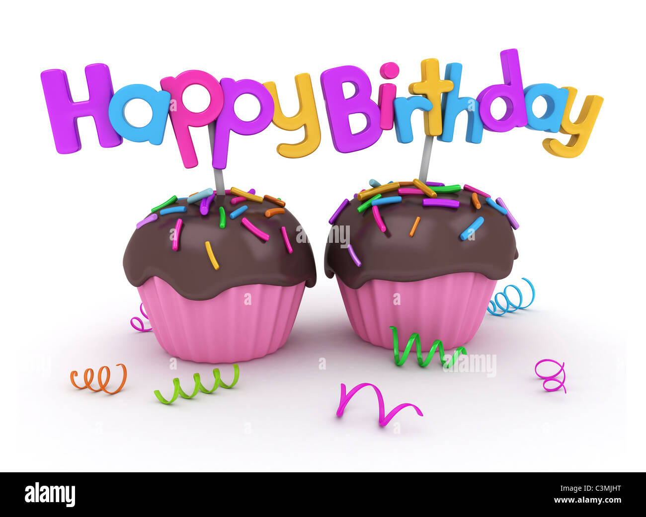 3d illustration of twin cupcakes with birthday greetings attached 3d illustration of twin cupcakes with birthday greetings attached m4hsunfo