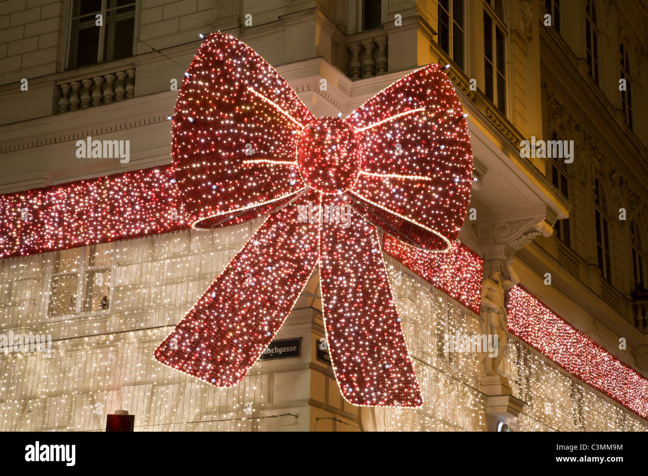 Christmas decoration from Vienna house facade - Stock Image