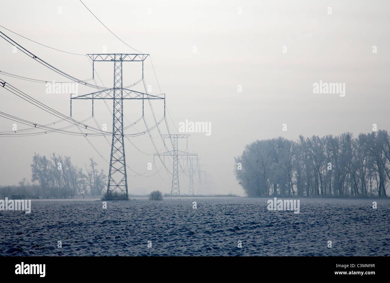 mast in winter landscape - west Slovakia - Stock Image
