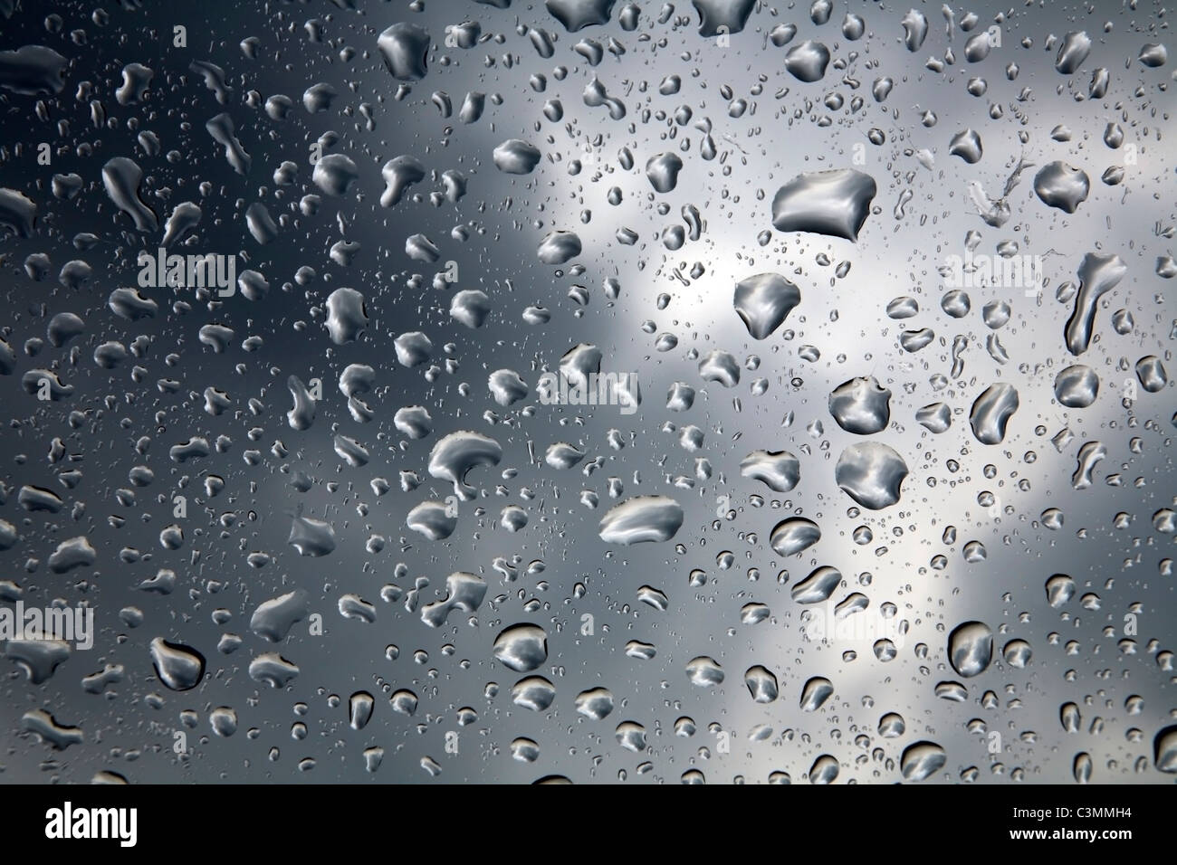 beads on the car glass - Stock Image