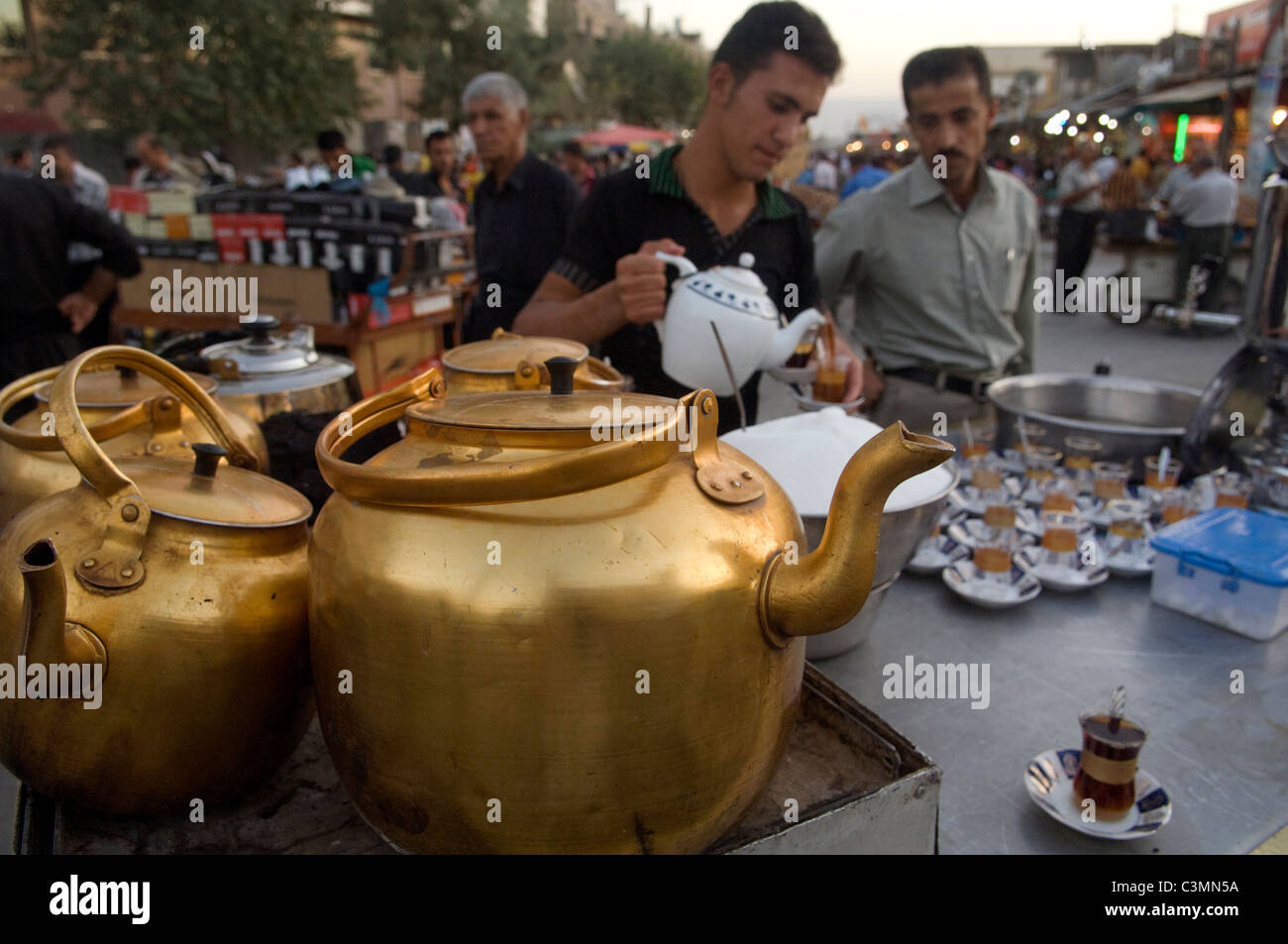 Kurdish Tea Stall Suliymaniya North Iraq - Stock Image