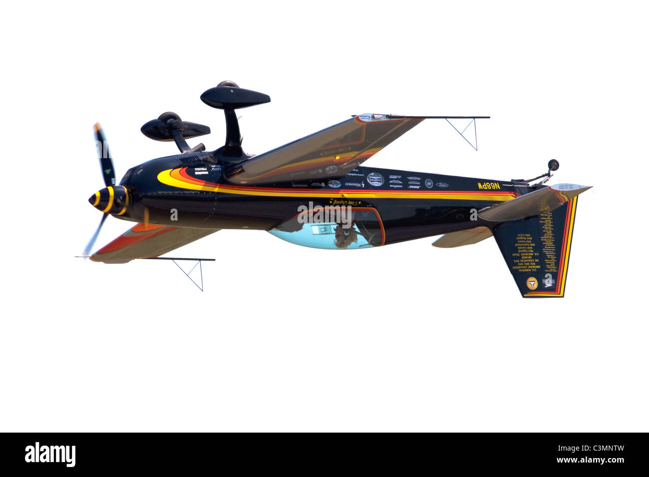 Patty Wagstaffe flying inverted in her Extra aerobatic aircraft - Stock Image