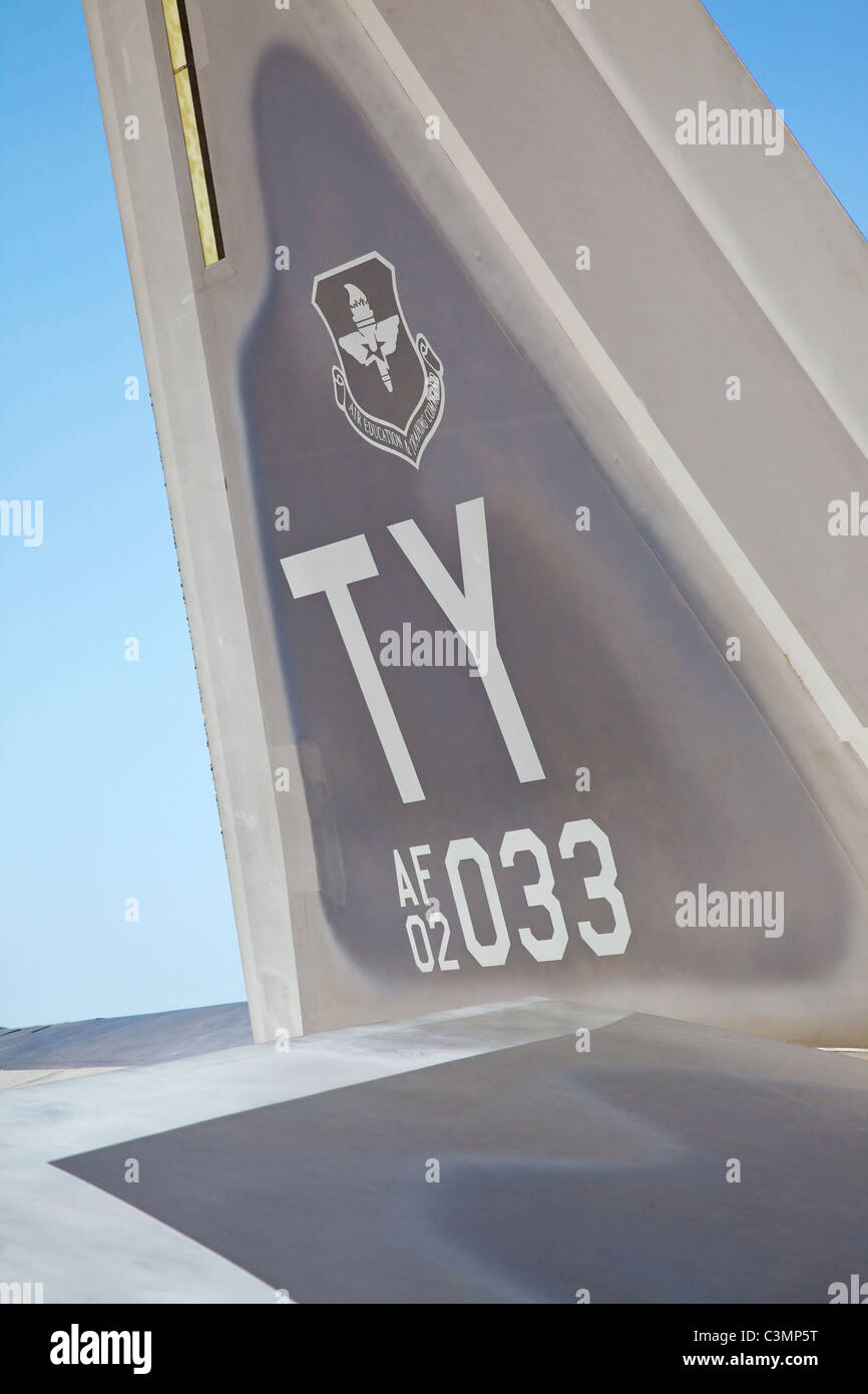 The tailplane of a Lockheed Martin F22 Raptor fighter of the USAF - Stock Image