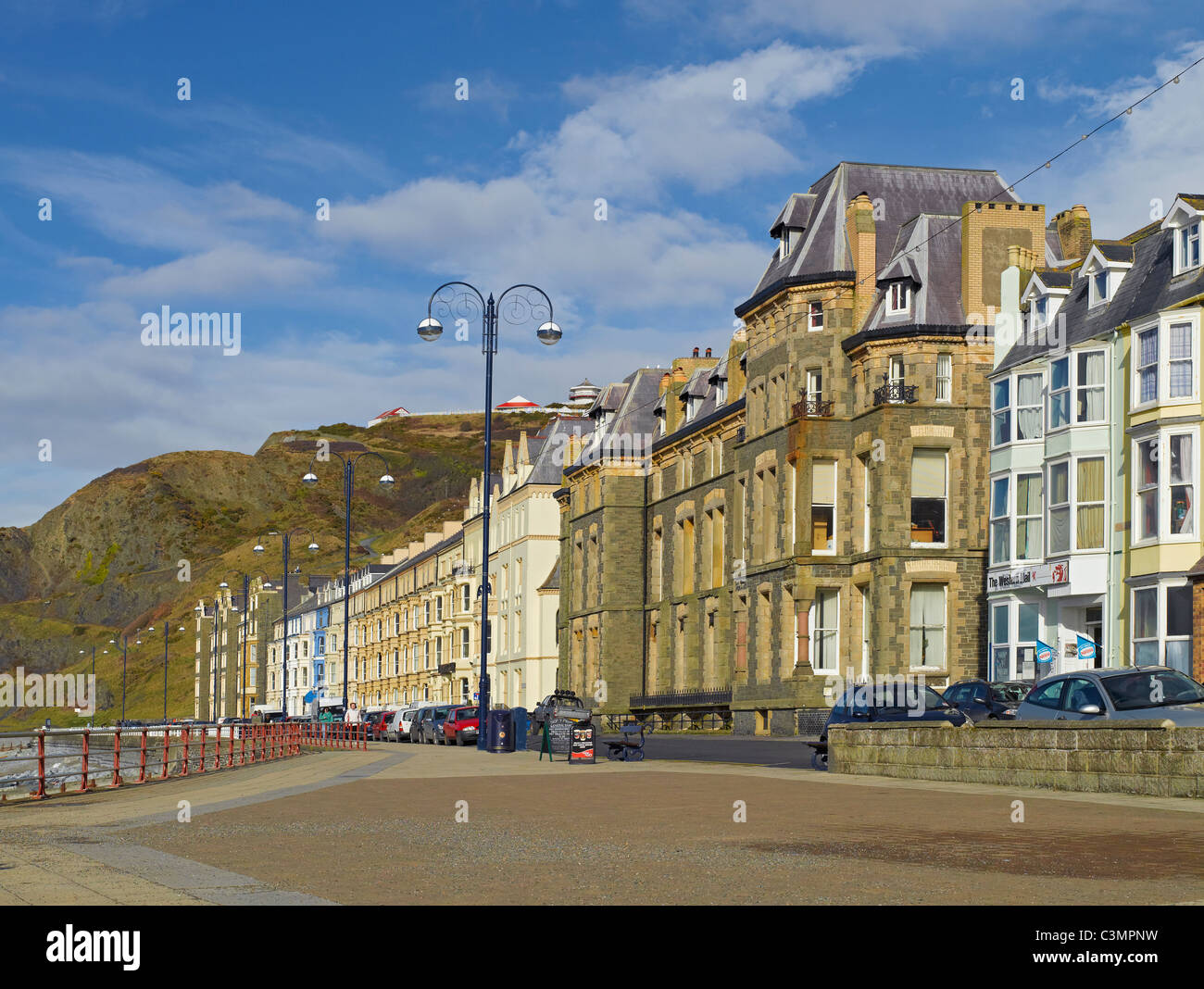 Marine Terrace and North Beach Aberystwyth Cardiganshire Wales UK United Kingdom GB Great Britain - Stock Image