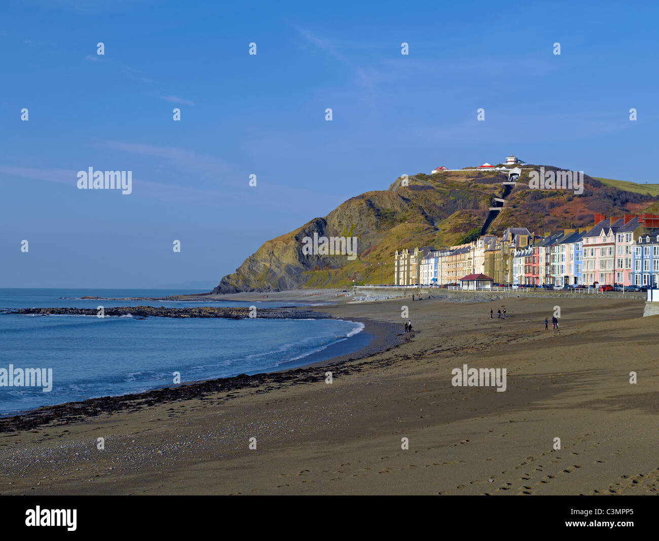 North Beach and Marine Terrace in winter Aberystwyth Cardiganshire Wales UK United Kingdom GB Great Britain - Stock Image
