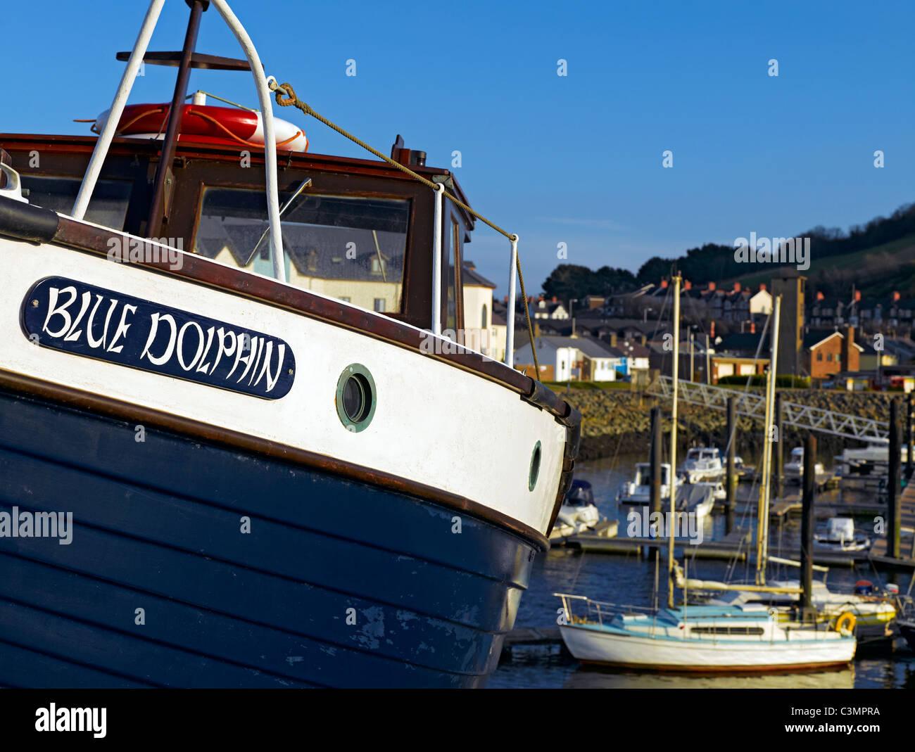 Close up of boat at Aberystwyth Marina Cardiganshire Wales UK United Kingdom GB Great Britain - Stock Image