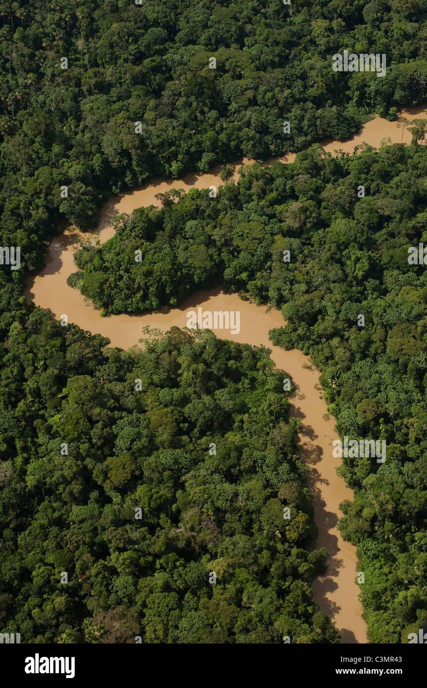 Tiguino River meandering in tropical rainforest in Yasuni National Park. Amazon Rain Forest, Ecuador. - Stock Image