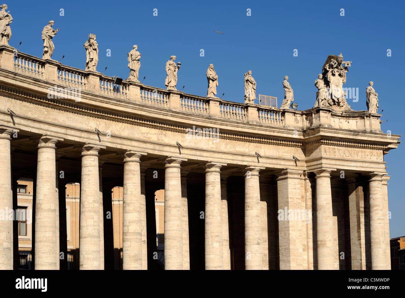 italy, rome, st peter's square, bernini colonnade, statues - Stock Image