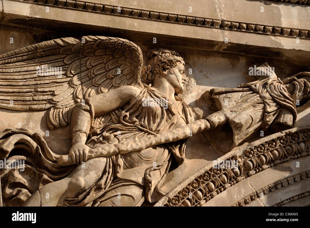 italy, rome, roman forum, arch of septimius severus, bas relief detail - Stock Image