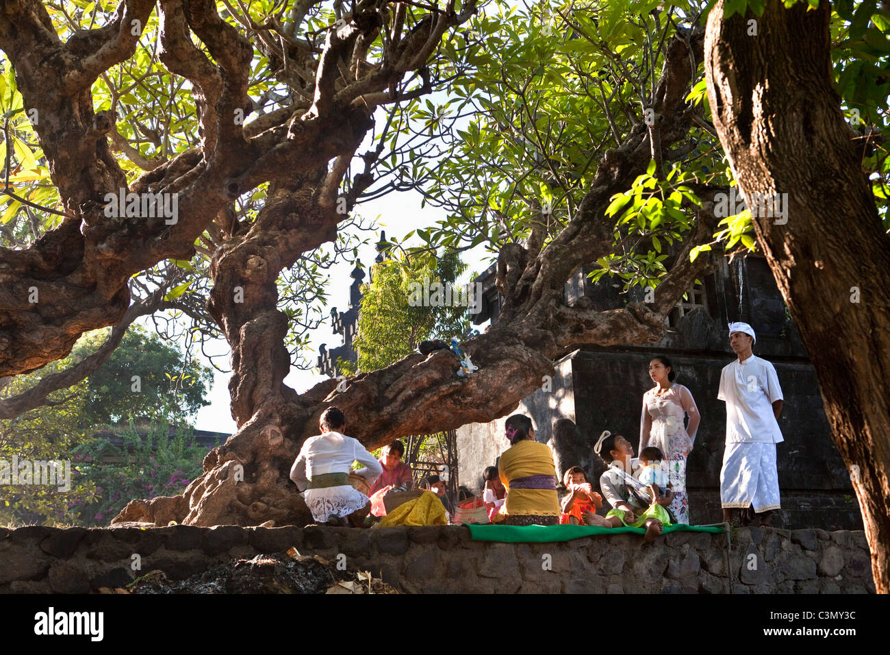Indonesia, Island Bali, Alassari, Sea temple called Pura Ponjok Batu. Festival to honor the gods of the sea. Melasty - Stock Image