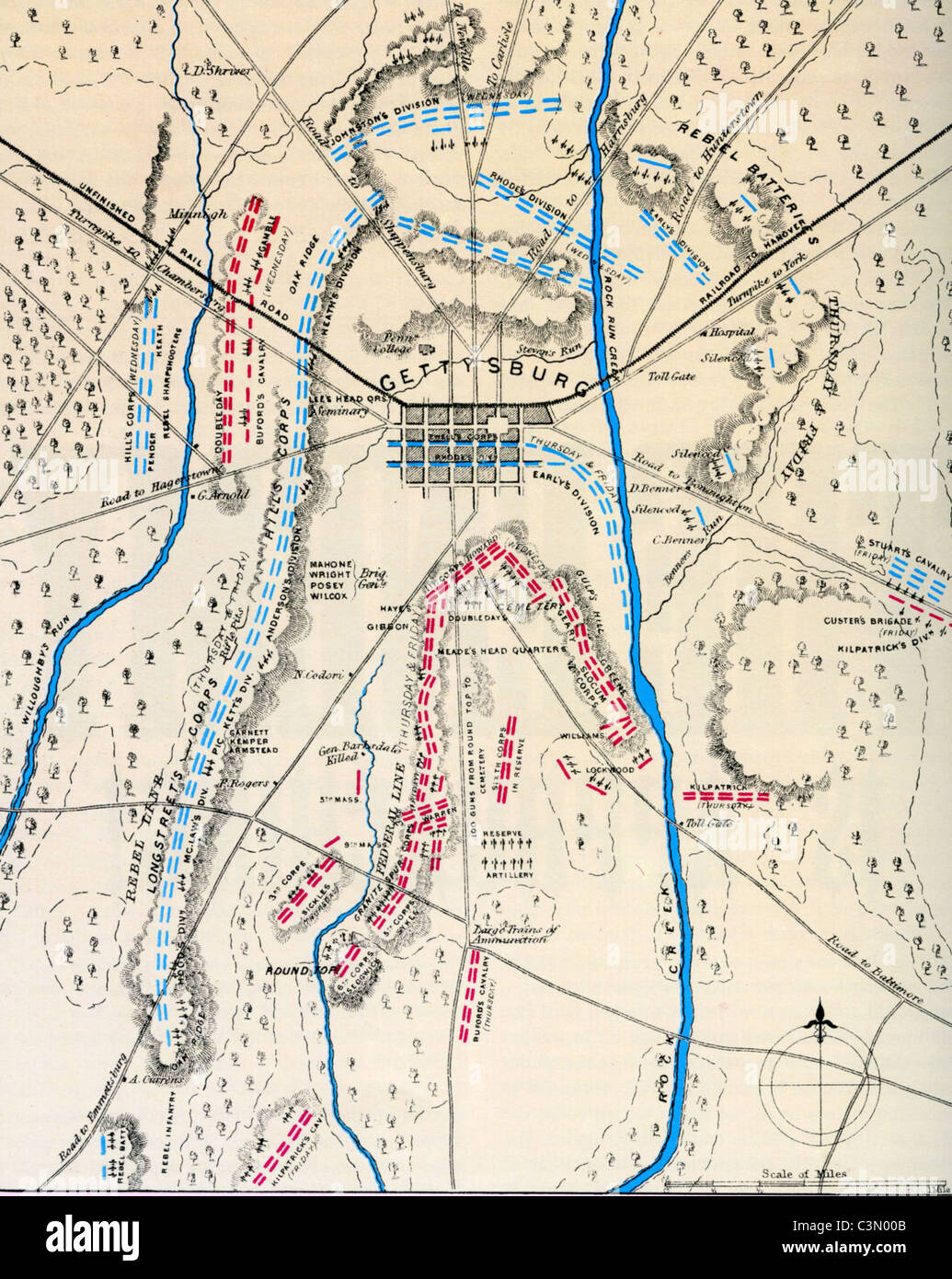 BATTLE OF GETTYSBURG  1-3 July 1863. Contemporary map showing Union forces in blue during an early phase of the - Stock Image