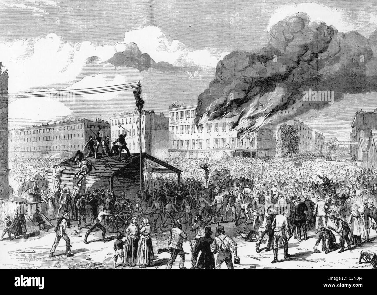 NEW YORK CITY DRAFT RIOTS July 13-16 1863 resulting from Congressional laws to draft men for the Civil War - Stock Image